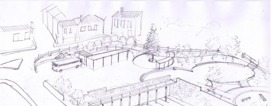 draft drawing for garden landscape